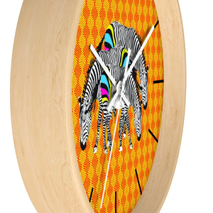 Three Zebras on Orange Wall clock