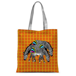 Three Zebras on Orange Sublimation Tote Bag