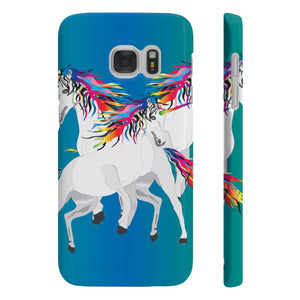 Rainbow Unicorns Slim Phone Case