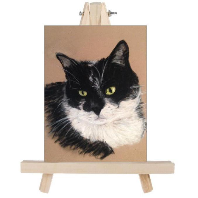 fine art daisy cat on easel