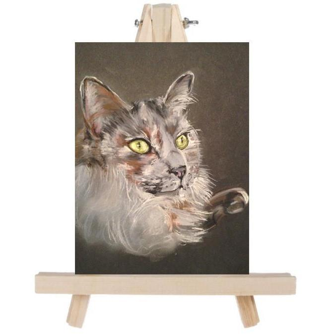 fine art misty cat on easel