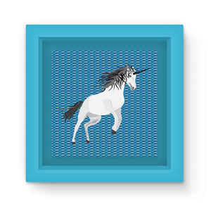 Unicorn on Blue Graphic Art Print Magnet Frame