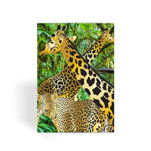 Two Gold Giraffes with Leopard Greeting Card
