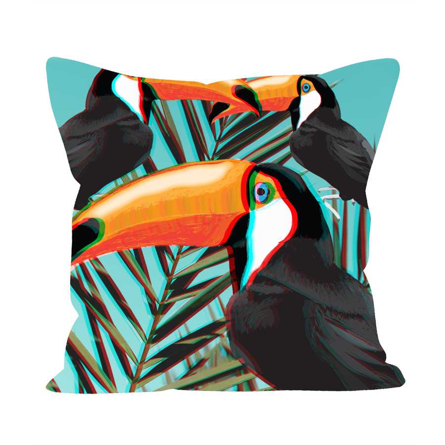"12"" Cushion Faux Suede 3D-3-toucans-leaves"