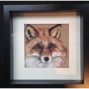 fine art original winter fox pastel on velour framed