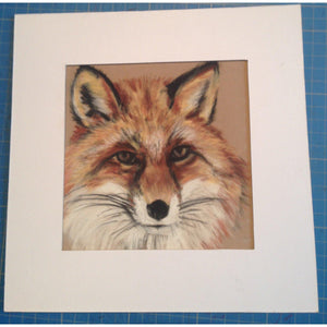 fine art original winter fox pastel on velour mounted