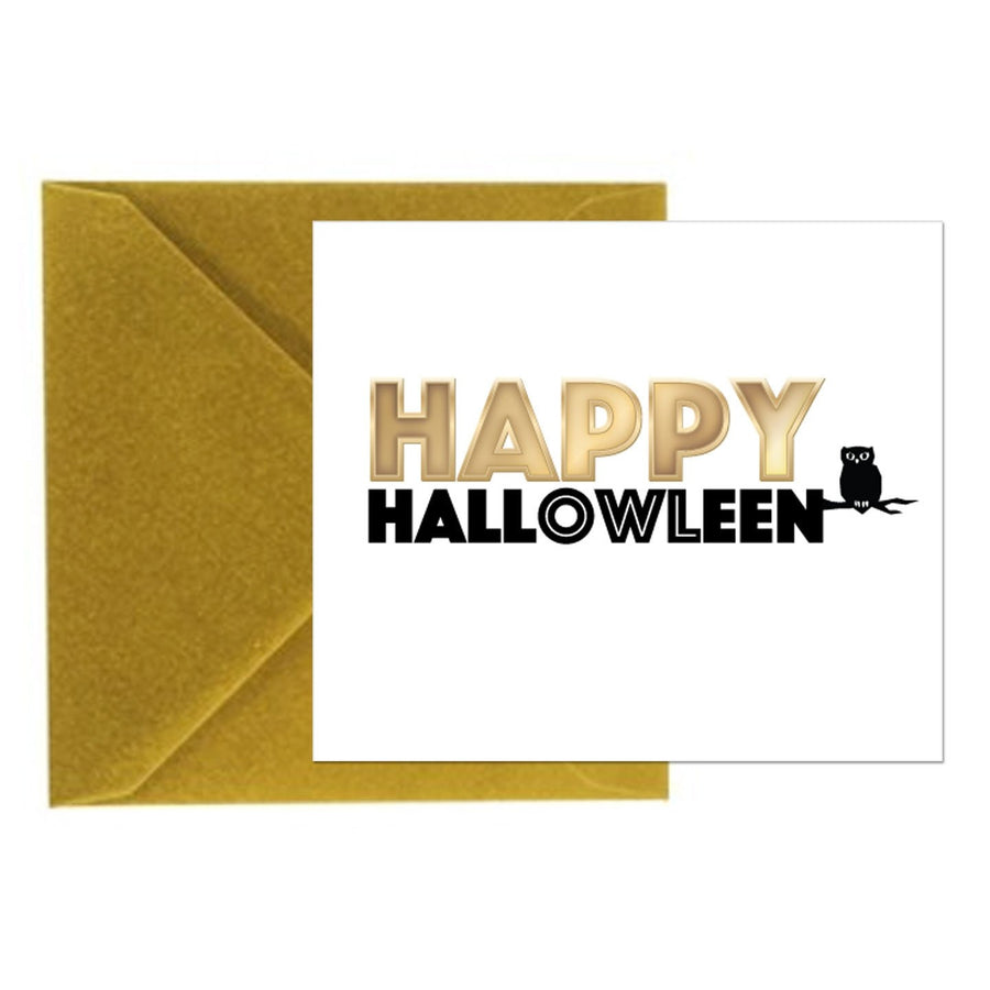 Halloween Card - Happy Hallowleen - Square Card with Gold Envelope