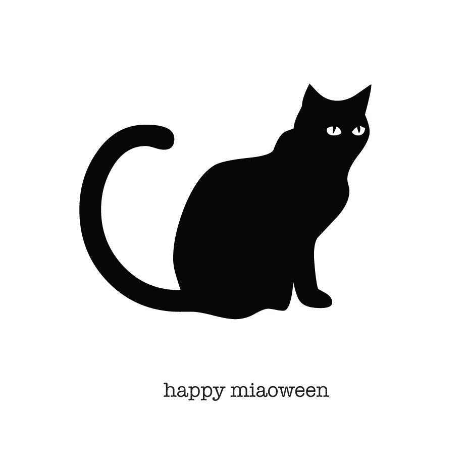 Halloween Card - Happy Miaoween - Black Cat Square Card with Gold Envelope