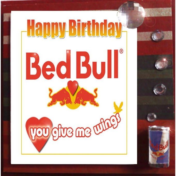 MisFitz Red Bull 'Bed Bull You Give Me Wings' Birthday Greeting Card