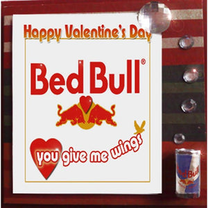 MisFitz Red Bull Bed Bull Valentine's Greeting Card