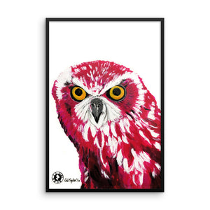 Augmented Reality - 'Cerise Owl Kaleidoscope' Framed poster