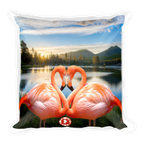 Augmented Reality - Square Pillow - Flamingo Love