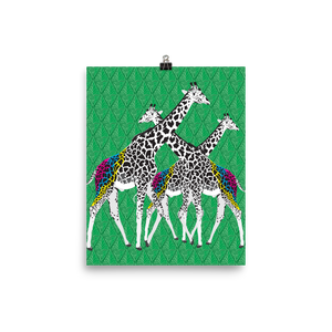 Three Giraffes on Green Graphic Art Print Poster