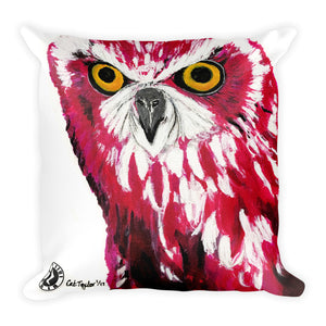 Augmented Reality 'Cerise Owl Kaleidoscope' - Square Pillow