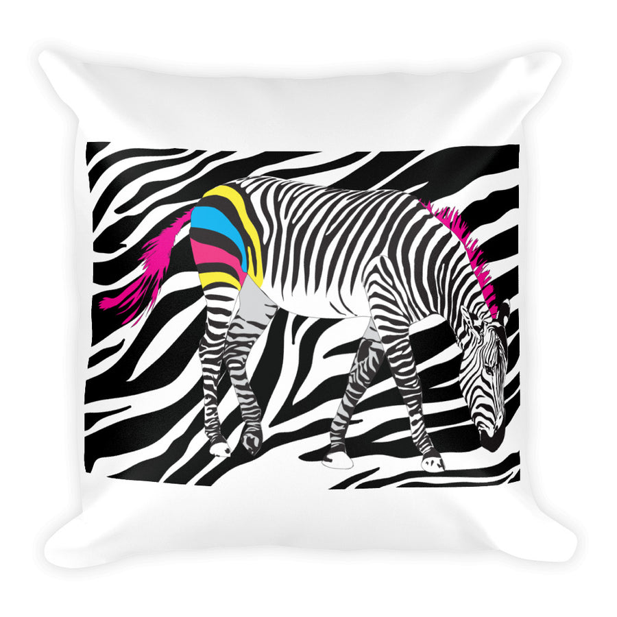 CMYK Zebra Square Pillow