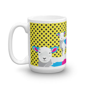 Spring Lambs on Yellow Polka Dots Mug