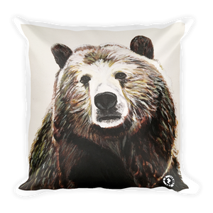 Big Brown Bear Square Pillow - AR enhanced