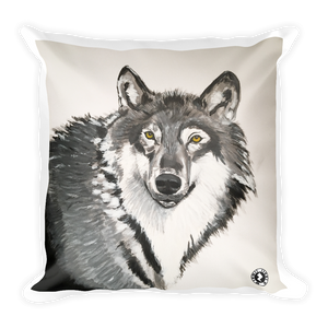 Grey Grey Wolf Augmented Reality Square Pillow