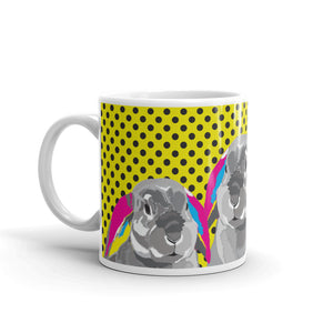 Three Rabbits on Yellow Polka Dots Mug