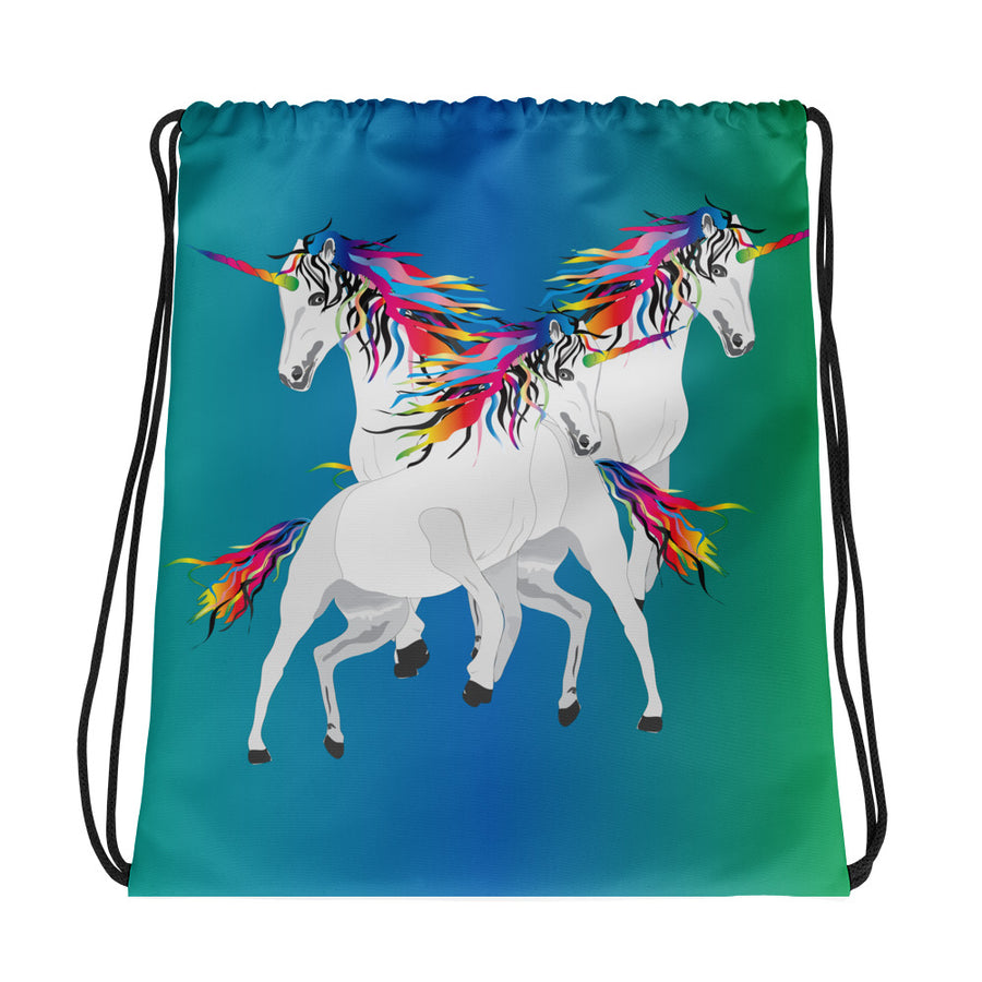 Rainbow Unicorns Drawstring bag