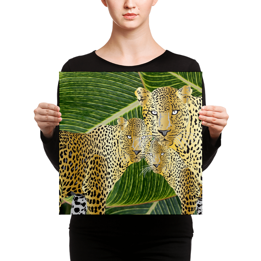 Three Gold Leopards Graphic Art Print Canvas