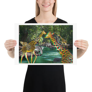 3D Anaglyph Poster Art Print - Giraffes, Leopards and Zebras