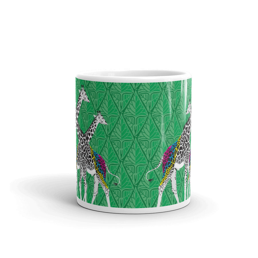 Three Giraffes on Green Mug