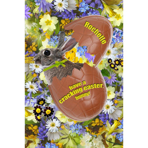 """Have a Cracking Easter, Bunny"" Rabbit and Egg Card"