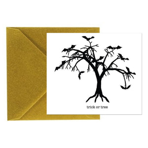 Halloween Card - Trick or Tree - Square Card with Gold Envelope