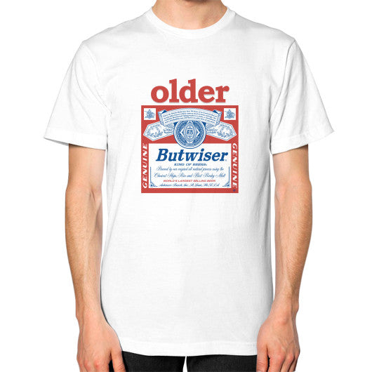 Unisex T-Shirt - Budweiser Older Butwiser - Personalisable with a name and age! White Wizhez
