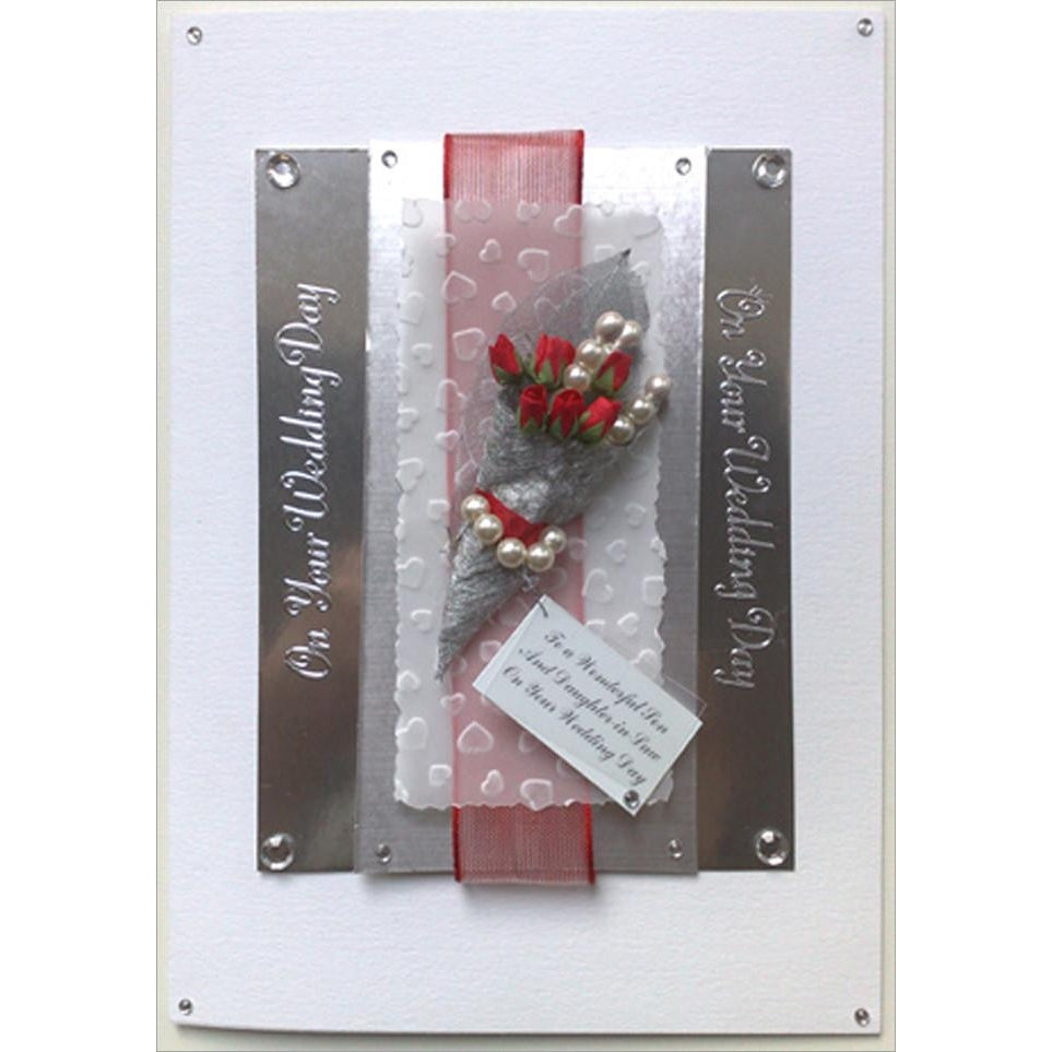 Bespoke Rose and Pearl Wedding Greeting Card