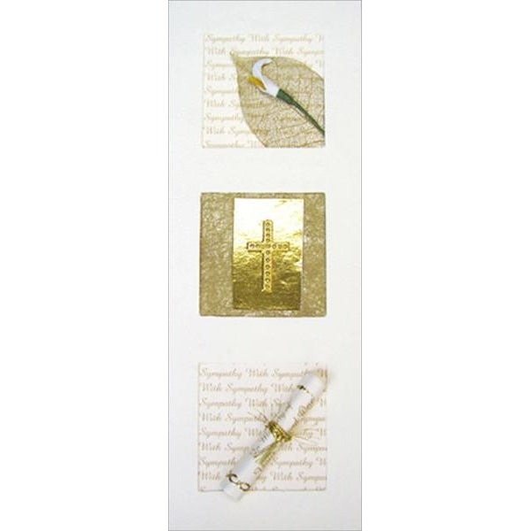 Lily, Gold Cross and Scroll Sympathy Three Panel Card