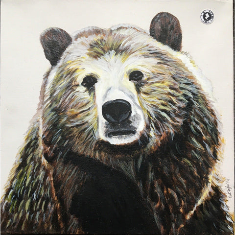 Fine Art Original Augmented Reality Canvas - Beautiful Big Brown Bear