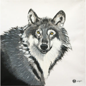 Fine Art Original Augmented Reality Canvas - Grey Grey Wolf