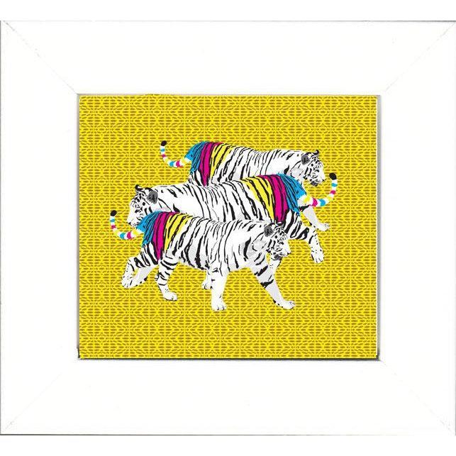 Wall Art Framed Print - Three Tigers on Yellow