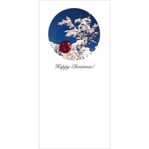 Buggles Ladybird on Snowy Branch Christmas Card