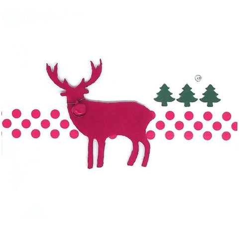 Christmas Reindeer & Trees Square Greeting Card