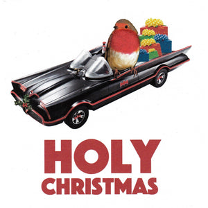 "Batmobile & Robin ""Holy Christmas"" Square Greetings"