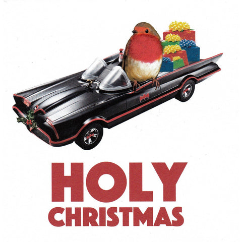 "Christmas Batmobile & Robin ""Holy Christmas"" Square Greeting Card"