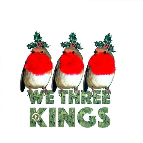 "Christmas Robins ""We Three Kings"" Augmented Reality Square Greeting Card"