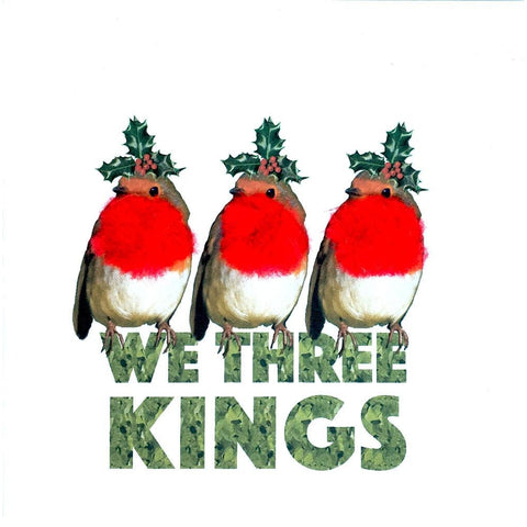 Christmas Robins We Three Kings Square Greeting Card