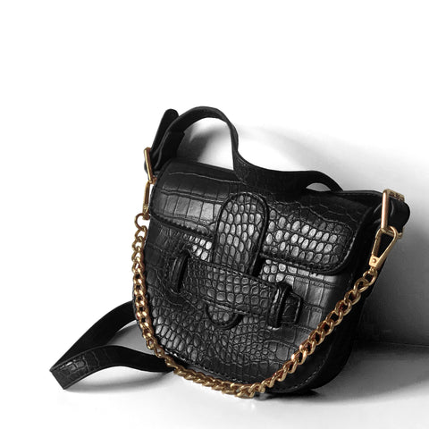 Croc-effect Saddle Shoulder Bag