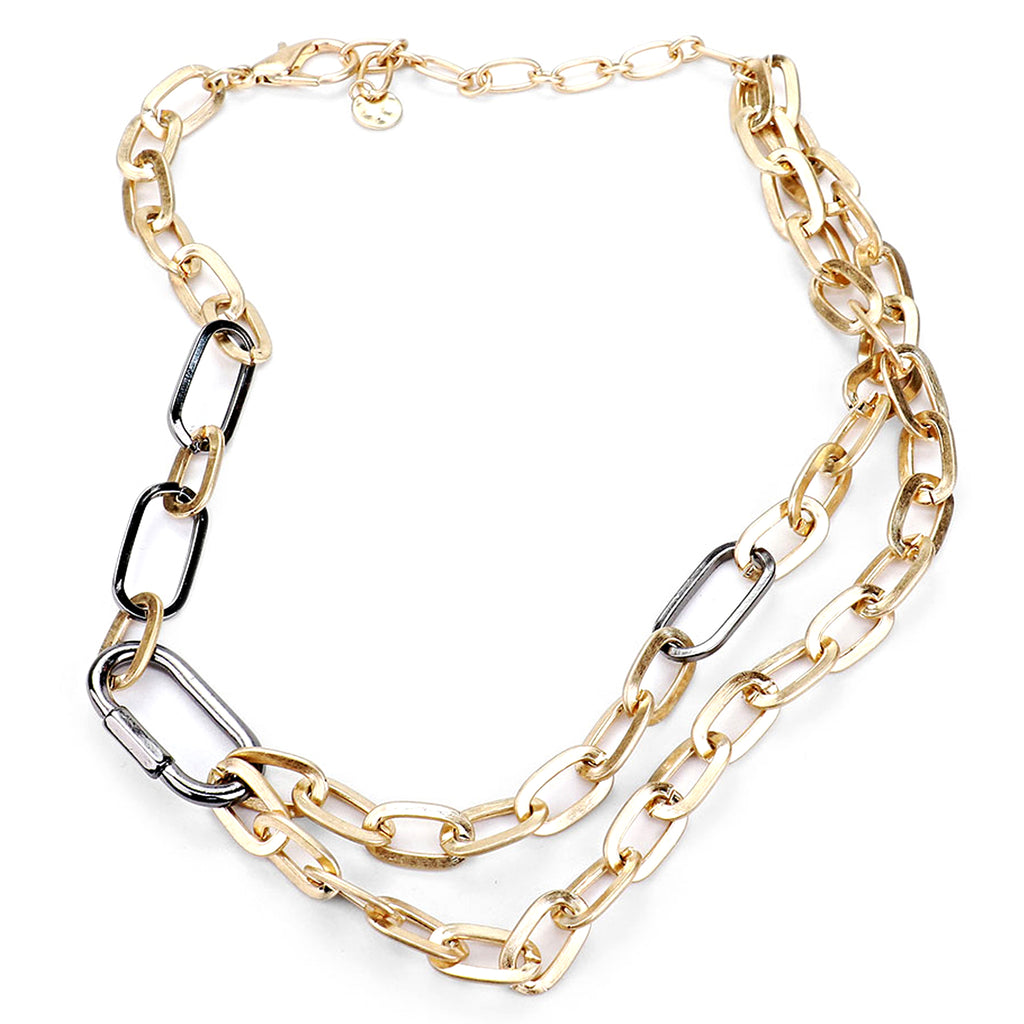 Carabiner Lock Two-Tone Chain Necklace | Gold