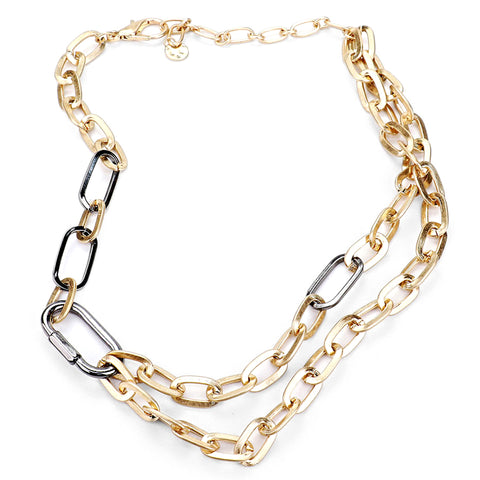 Carabiner Lock Two-Tone Chain Necklace | SILVER