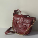 Croc-effect Petite Saddle Shoulder Bag