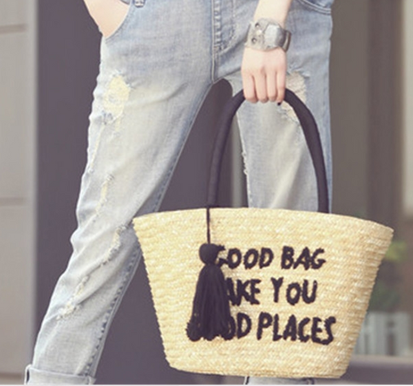 GOING PLACES STRAW BEACH BAG