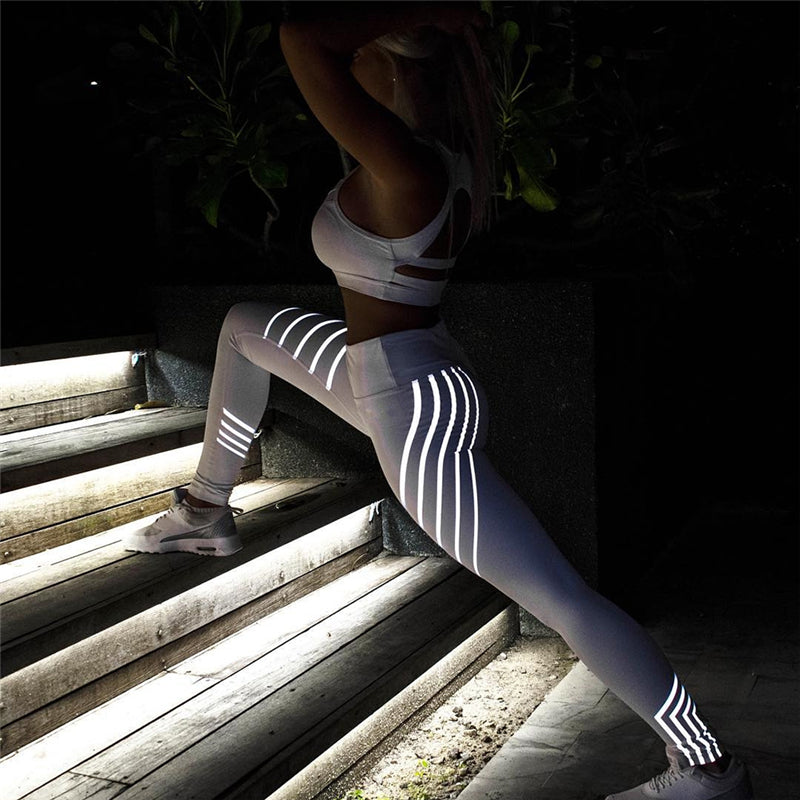 Glowing effect stretch push up leggings