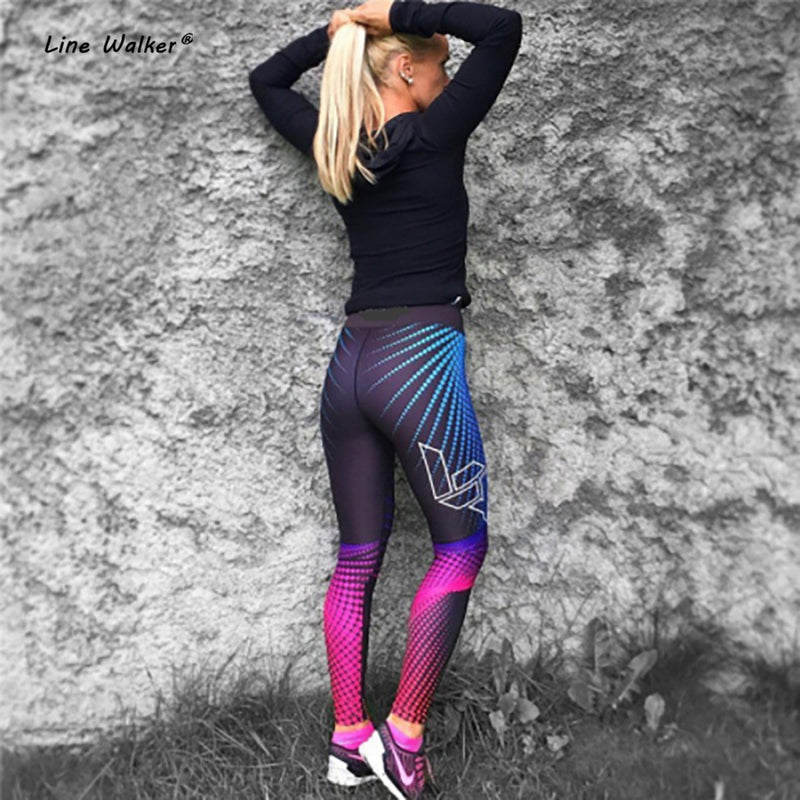 Line Walker High Waist Leggings Push Up Sport Fitness