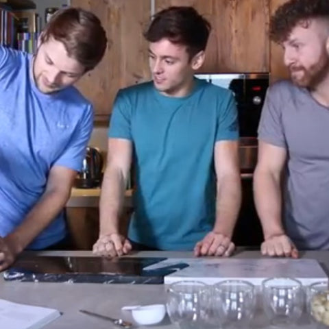 Tom Daley and The Lean Machines and Connect Serving Chopping Boards