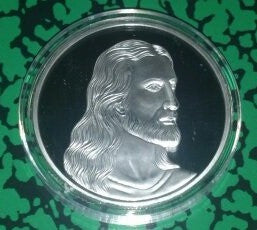 Jesus Alive Last Supper Silver Plated Art Round Vintage